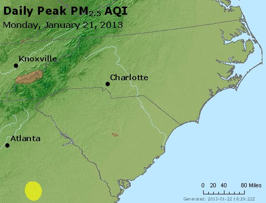 Peak Particles PM<sub>2.5</sub> (24-hour) - https://files.airnowtech.org/airnow/2013/20130121/peak_pm25_nc_sc.jpg