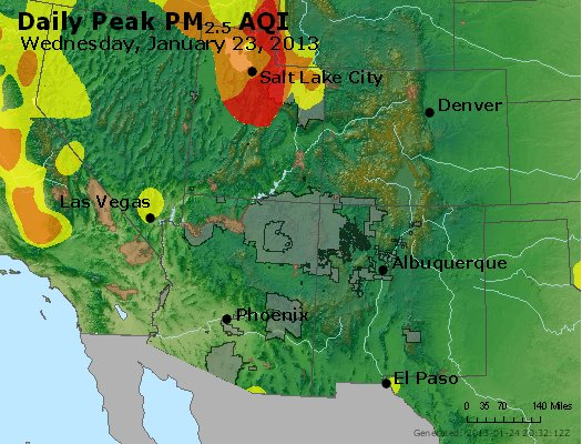 Peak Particles PM<sub>2.5</sub> (24-hour) - https://files.airnowtech.org/airnow/2013/20130123/peak_pm25_co_ut_az_nm.jpg