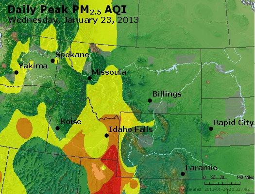 Peak Particles PM<sub>2.5</sub> (24-hour) - https://files.airnowtech.org/airnow/2013/20130123/peak_pm25_mt_id_wy.jpg