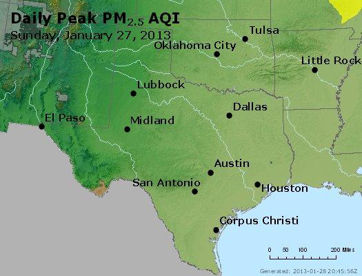 Peak Particles PM<sub>2.5</sub> (24-hour) - https://files.airnowtech.org/airnow/2013/20130127/peak_pm25_tx_ok.jpg