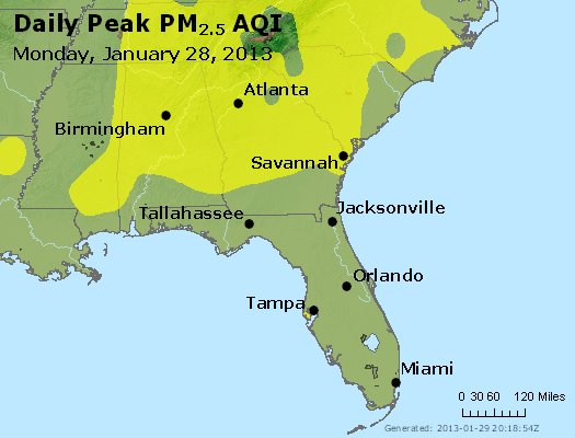 Peak Particles PM<sub>2.5</sub> (24-hour) - https://files.airnowtech.org/airnow/2013/20130128/peak_pm25_al_ga_fl.jpg