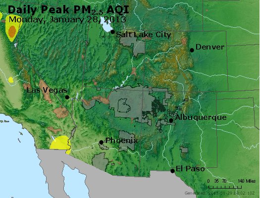 Peak Particles PM<sub>2.5</sub> (24-hour) - https://files.airnowtech.org/airnow/2013/20130128/peak_pm25_co_ut_az_nm.jpg