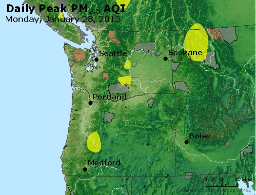 Peak Particles PM<sub>2.5</sub> (24-hour) - https://files.airnowtech.org/airnow/2013/20130128/peak_pm25_wa_or.jpg