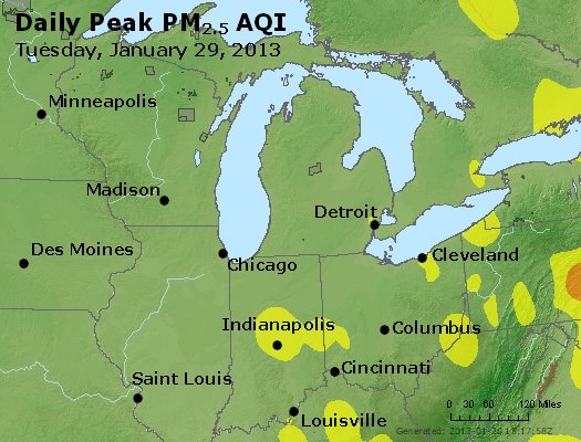Peak Particles PM<sub>2.5</sub> (24-hour) - https://files.airnowtech.org/airnow/2013/20130129/peak_pm25_mi_in_oh.jpg