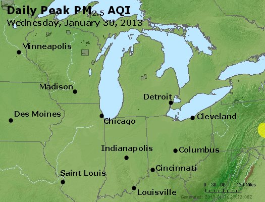 Peak Particles PM<sub>2.5</sub> (24-hour) - https://files.airnowtech.org/airnow/2013/20130130/peak_pm25_mi_in_oh.jpg