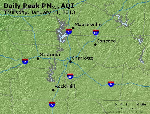 Peak Particles PM<sub>2.5</sub> (24-hour) - https://files.airnowtech.org/airnow/2013/20130131/peak_pm25_charlotte_nc.jpg