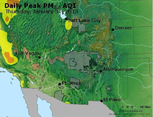 Peak Particles PM<sub>2.5</sub> (24-hour) - https://files.airnowtech.org/airnow/2013/20130131/peak_pm25_co_ut_az_nm.jpg