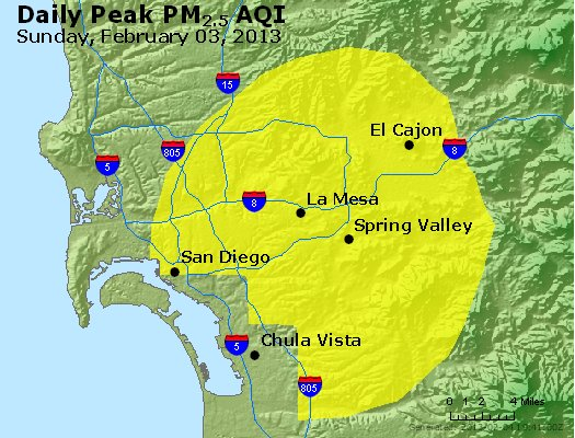 Peak Particles PM<sub>2.5</sub> (24-hour) - https://files.airnowtech.org/airnow/2013/20130203/peak_pm25_sandiego_ca.jpg