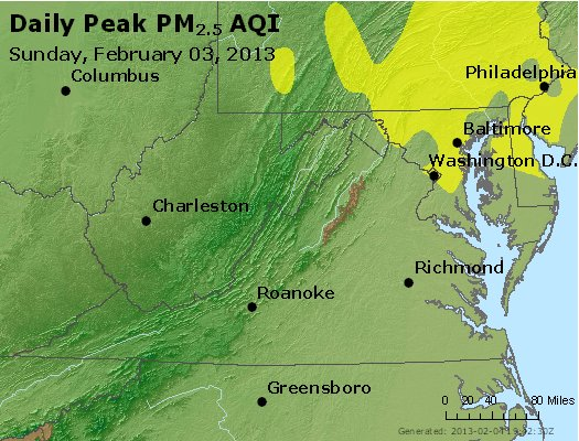 Peak Particles PM<sub>2.5</sub> (24-hour) - https://files.airnowtech.org/airnow/2013/20130203/peak_pm25_va_wv_md_de_dc.jpg