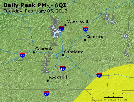 Peak Particles PM<sub>2.5</sub> (24-hour) - https://files.airnowtech.org/airnow/2013/20130205/peak_pm25_charlotte_nc.jpg