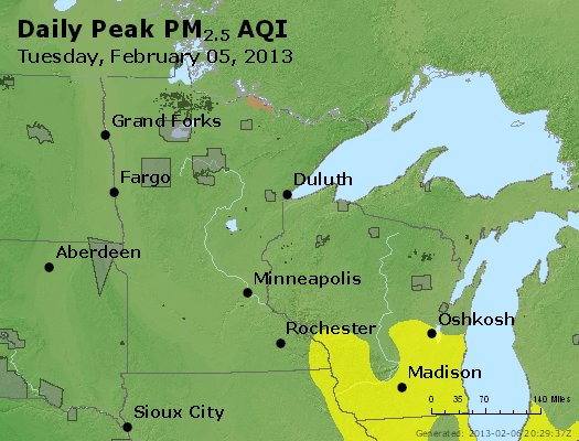 Peak Particles PM<sub>2.5</sub> (24-hour) - https://files.airnowtech.org/airnow/2013/20130205/peak_pm25_mn_wi.jpg