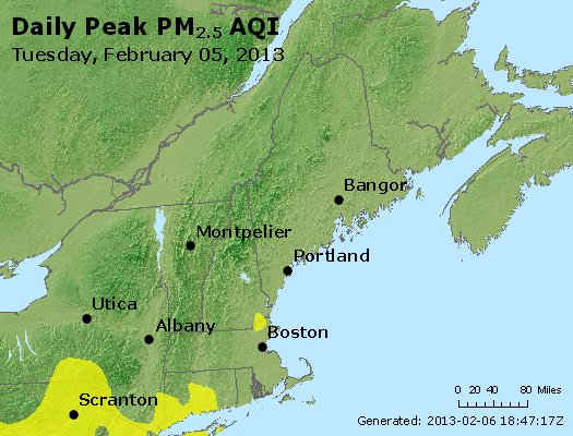 Peak Particles PM<sub>2.5</sub> (24-hour) - https://files.airnowtech.org/airnow/2013/20130205/peak_pm25_vt_nh_ma_ct_ri_me.jpg
