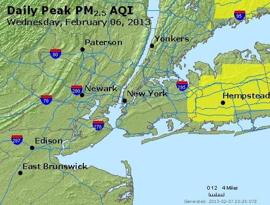 Peak Particles PM<sub>2.5</sub> (24-hour) - https://files.airnowtech.org/airnow/2013/20130206/peak_pm25_newyork_ny.jpg