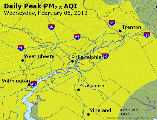 Peak Particles PM<sub>2.5</sub> (24-hour) - https://files.airnowtech.org/airnow/2013/20130206/peak_pm25_philadelphia_pa.jpg