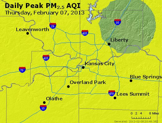 Peak Particles PM<sub>2.5</sub> (24-hour) - https://files.airnowtech.org/airnow/2013/20130207/peak_pm25_kansascity_mo.jpg