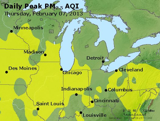 Peak Particles PM<sub>2.5</sub> (24-hour) - https://files.airnowtech.org/airnow/2013/20130207/peak_pm25_mi_in_oh.jpg