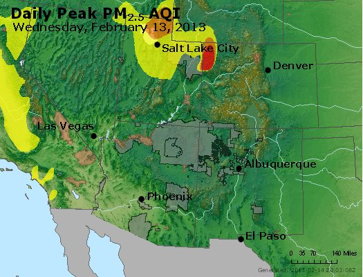 Peak Particles PM<sub>2.5</sub> (24-hour) - https://files.airnowtech.org/airnow/2013/20130213/peak_pm25_co_ut_az_nm.jpg