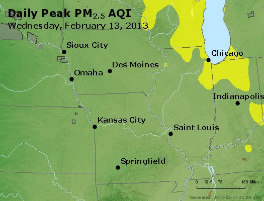 Peak Particles PM<sub>2.5</sub> (24-hour) - https://files.airnowtech.org/airnow/2013/20130213/peak_pm25_ia_il_mo.jpg