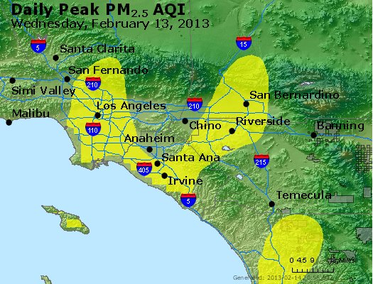 Peak Particles PM<sub>2.5</sub> (24-hour) - https://files.airnowtech.org/airnow/2013/20130213/peak_pm25_losangeles_ca.jpg