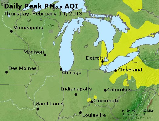 Peak Particles PM<sub>2.5</sub> (24-hour) - https://files.airnowtech.org/airnow/2013/20130214/peak_pm25_mi_in_oh.jpg