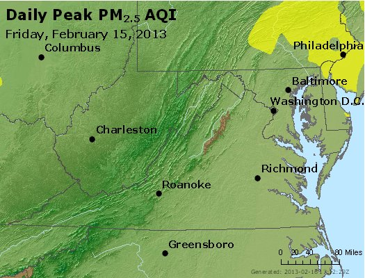 Peak Particles PM<sub>2.5</sub> (24-hour) - https://files.airnowtech.org/airnow/2013/20130215/peak_pm25_va_wv_md_de_dc.jpg