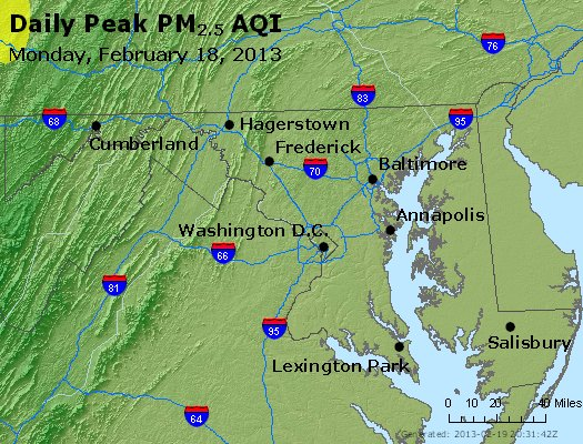 Peak Particles PM<sub>2.5</sub> (24-hour) - https://files.airnowtech.org/airnow/2013/20130218/peak_pm25_maryland.jpg