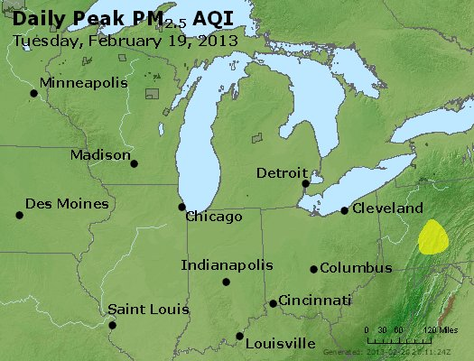 Peak Particles PM<sub>2.5</sub> (24-hour) - https://files.airnowtech.org/airnow/2013/20130219/peak_pm25_mi_in_oh.jpg