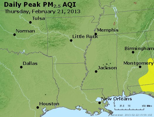 Peak Particles PM<sub>2.5</sub> (24-hour) - https://files.airnowtech.org/airnow/2013/20130221/peak_pm25_ar_la_ms.jpg