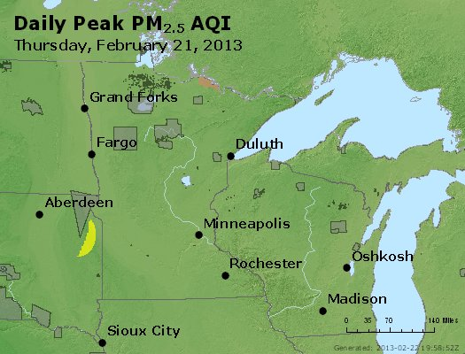 Peak Particles PM<sub>2.5</sub> (24-hour) - https://files.airnowtech.org/airnow/2013/20130221/peak_pm25_mn_wi.jpg