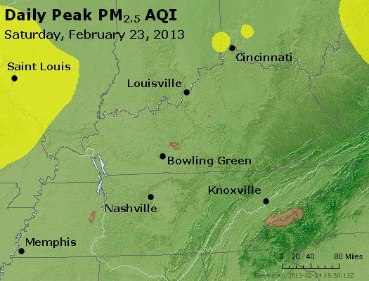 Peak Particles PM<sub>2.5</sub> (24-hour) - https://files.airnowtech.org/airnow/2013/20130223/peak_pm25_ky_tn.jpg