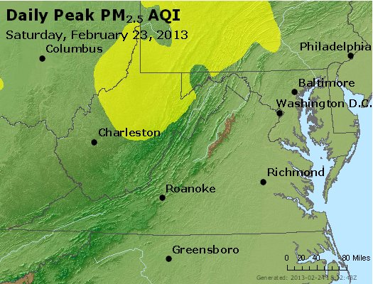 Peak Particles PM<sub>2.5</sub> (24-hour) - https://files.airnowtech.org/airnow/2013/20130223/peak_pm25_va_wv_md_de_dc.jpg