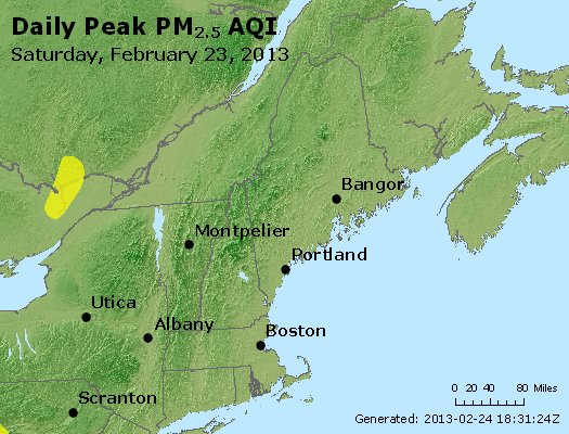 Peak Particles PM<sub>2.5</sub> (24-hour) - https://files.airnowtech.org/airnow/2013/20130223/peak_pm25_vt_nh_ma_ct_ri_me.jpg