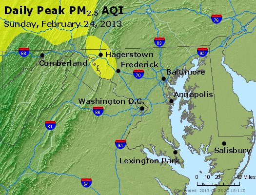 Peak Particles PM<sub>2.5</sub> (24-hour) - https://files.airnowtech.org/airnow/2013/20130224/peak_pm25_maryland.jpg