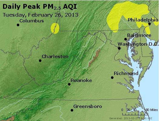 Peak Particles PM<sub>2.5</sub> (24-hour) - https://files.airnowtech.org/airnow/2013/20130226/peak_pm25_va_wv_md_de_dc.jpg