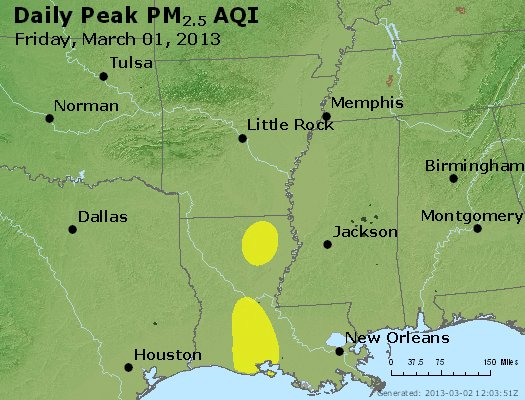 Peak Particles PM<sub>2.5</sub> (24-hour) - https://files.airnowtech.org/airnow/2013/20130301/peak_pm25_ar_la_ms.jpg