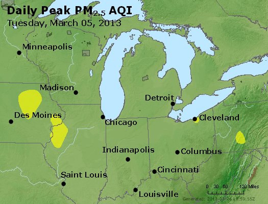 Peak Particles PM<sub>2.5</sub> (24-hour) - https://files.airnowtech.org/airnow/2013/20130305/peak_pm25_mi_in_oh.jpg