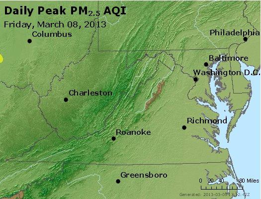 Peak Particles PM<sub>2.5</sub> (24-hour) - https://files.airnowtech.org/airnow/2013/20130308/peak_pm25_va_wv_md_de_dc.jpg