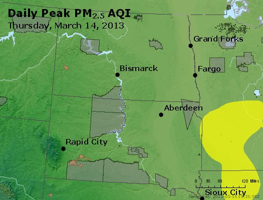 Peak Particles PM<sub>2.5</sub> (24-hour) - https://files.airnowtech.org/airnow/2013/20130314/peak_pm25_nd_sd.jpg