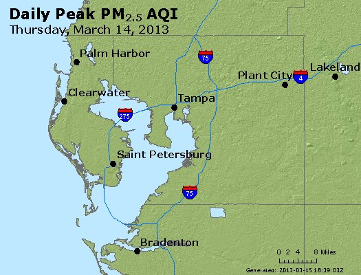 Peak Particles PM<sub>2.5</sub> (24-hour) - https://files.airnowtech.org/airnow/2013/20130314/peak_pm25_tampa_fl.jpg