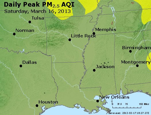Peak Particles PM<sub>2.5</sub> (24-hour) - https://files.airnowtech.org/airnow/2013/20130316/peak_pm25_ar_la_ms.jpg
