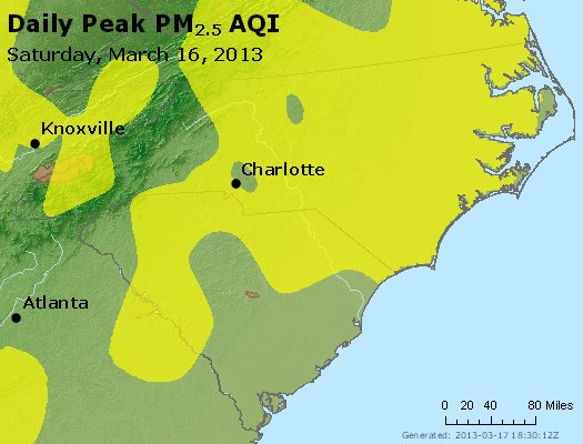 Peak Particles PM<sub>2.5</sub> (24-hour) - https://files.airnowtech.org/airnow/2013/20130316/peak_pm25_nc_sc.jpg