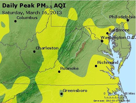 Peak Particles PM<sub>2.5</sub> (24-hour) - https://files.airnowtech.org/airnow/2013/20130316/peak_pm25_va_wv_md_de_dc.jpg