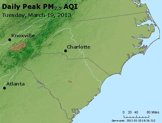 Peak Particles PM<sub>2.5</sub> (24-hour) - https://files.airnowtech.org/airnow/2013/20130319/peak_pm25_nc_sc.jpg