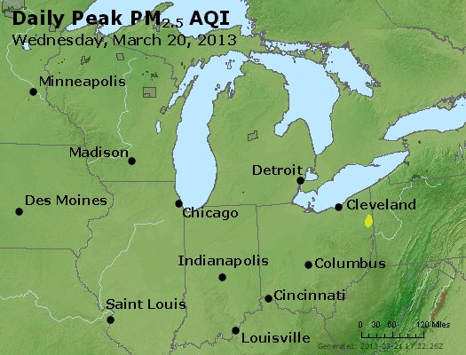 Peak Particles PM<sub>2.5</sub> (24-hour) - https://files.airnowtech.org/airnow/2013/20130320/peak_pm25_mi_in_oh.jpg
