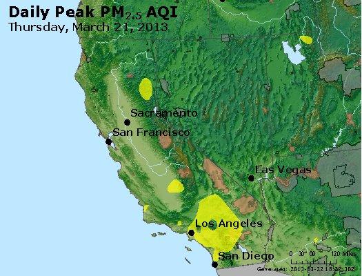 Peak Particles PM<sub>2.5</sub> (24-hour) - https://files.airnowtech.org/airnow/2013/20130321/peak_pm25_ca_nv.jpg