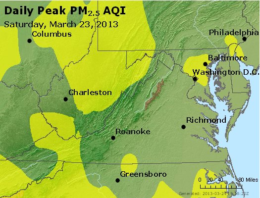 Peak Particles PM<sub>2.5</sub> (24-hour) - https://files.airnowtech.org/airnow/2013/20130323/peak_pm25_va_wv_md_de_dc.jpg