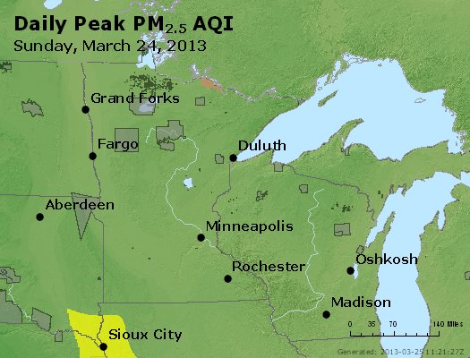 Peak Particles PM<sub>2.5</sub> (24-hour) - https://files.airnowtech.org/airnow/2013/20130324/peak_pm25_mn_wi.jpg