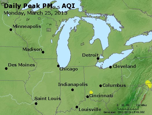 Peak Particles PM<sub>2.5</sub> (24-hour) - https://files.airnowtech.org/airnow/2013/20130325/peak_pm25_mi_in_oh.jpg