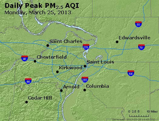 Peak Particles PM<sub>2.5</sub> (24-hour) - https://files.airnowtech.org/airnow/2013/20130325/peak_pm25_stlouis_mo.jpg