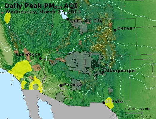 Peak Particles PM<sub>2.5</sub> (24-hour) - https://files.airnowtech.org/airnow/2013/20130327/peak_pm25_co_ut_az_nm.jpg